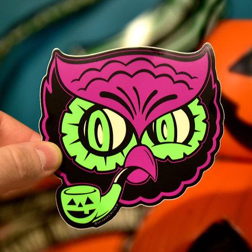 Retro Halloween Hooligan Owl Sticker