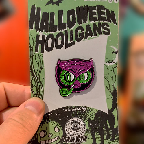 Retro Owl with a Pipe Halloween Hooligan Enamel Pin