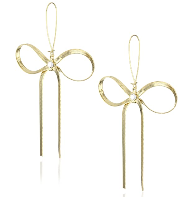 Betsey Johnson Large Gold Textured Bow Drop Earrings Christmas Gift Ideas by Courtney Garrison