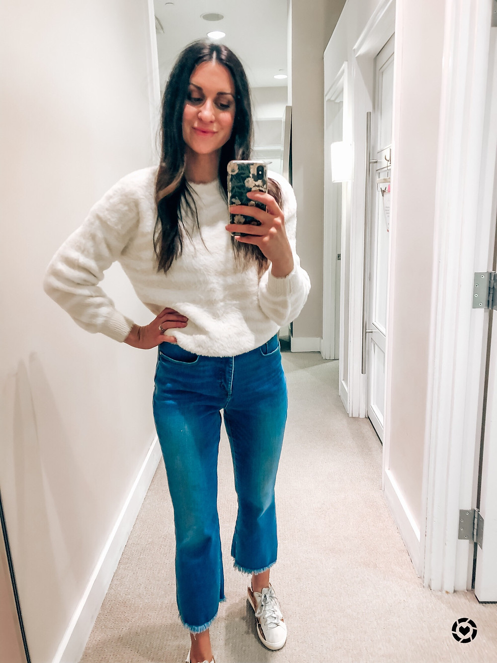 White Zebra Sweater LOFT Cropped Flare Jeans OKC Blogger Courtney Garrison