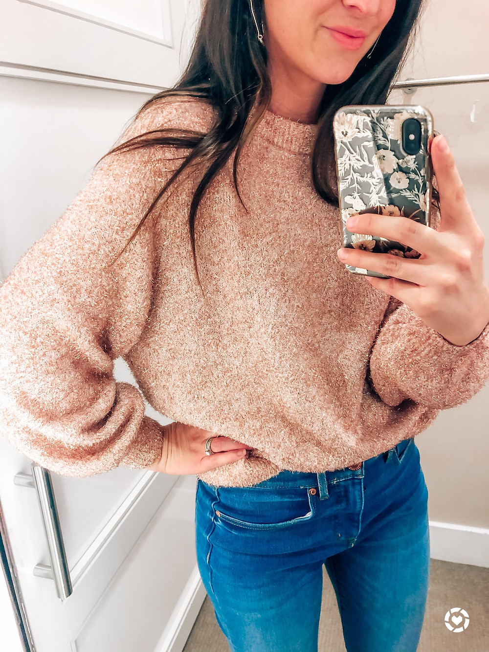 Shimmer Sweater with Balloon Sleeve from LOFT cropped flare jeans Courtney Garrison