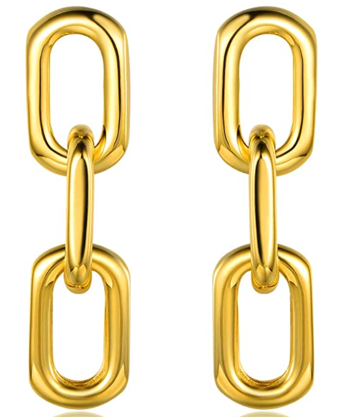ADD TO FAVORITES Barzel 18K Gold Plated Symmetrical Chain Link Dangling Earrings OKC Blogger Courtney Garrison
