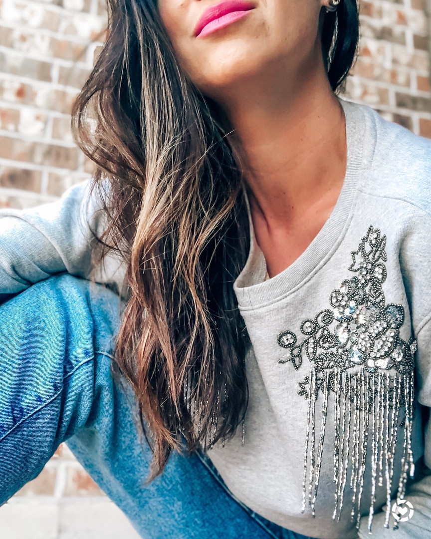 Embellished Shoulder Sweatshirt