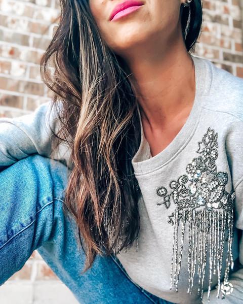 Embellished Shoulder Sweatshirt
