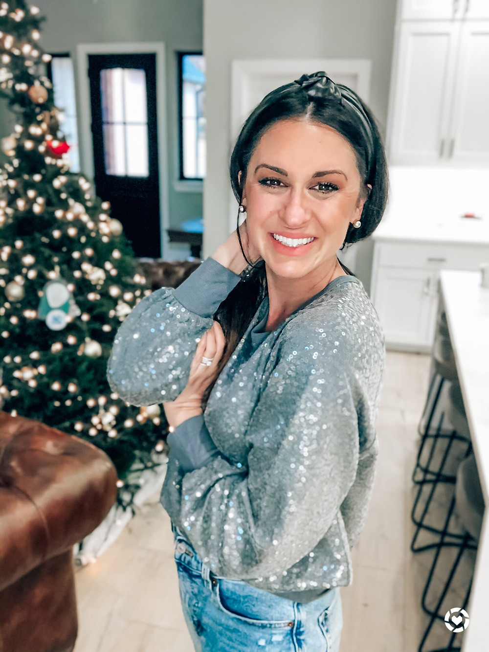 Holiday Sequin Crewneck Sweater and Mom Jeans for Christmas