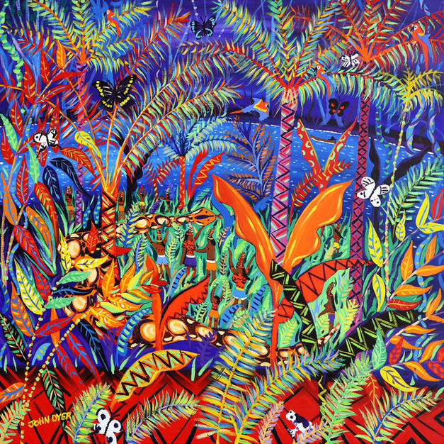 Painting inspired by the Yawanawá Tribe. Amazon Rainforest. Original Painting by John Dyer. Kênê - At one with Nature. 100 x 100 cm acrylic on canvas