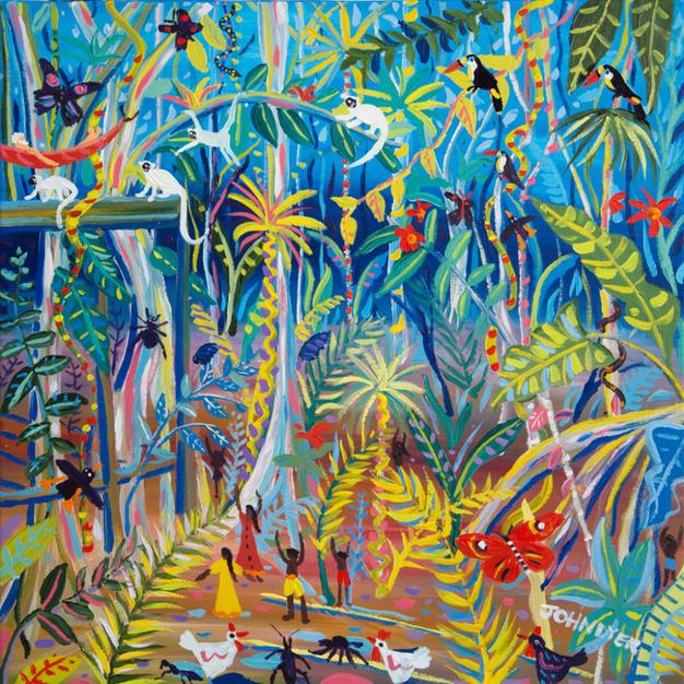 John Dyer Painting. Yawanawá Amazon Rainforest Tree House. 24 x 24 inches acrylic on canvas