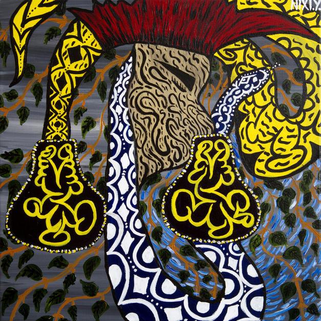 Nixiwaka Yawanawá Painting. The Healing Shaman. 24 x 24 inches acrylic on canvas