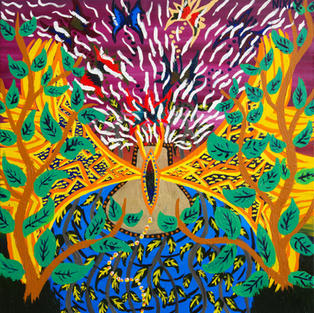 Nixiwaka Yawanawá Painting. Awavana, Amazon Rainforest. 24 x 24 inches acrylic on canvas