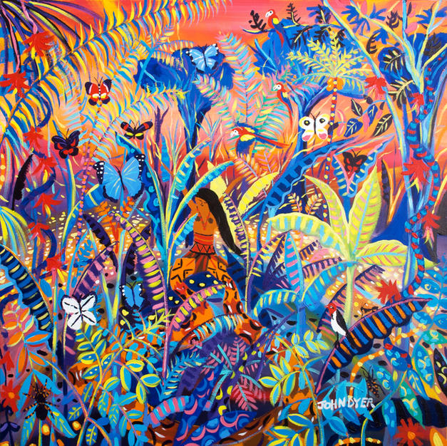 Vana. The Spirit of our shadows. Painting inspired by the Yawanawá Tribe. Amazon Rainforest. Original Painting by John Dyer. 100 x 100 cm acrylic on canvas