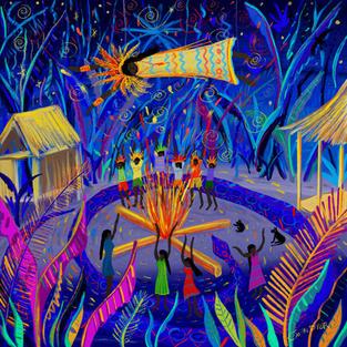 Yawanawá Tribal Ceremony. Procreate iPad drawing