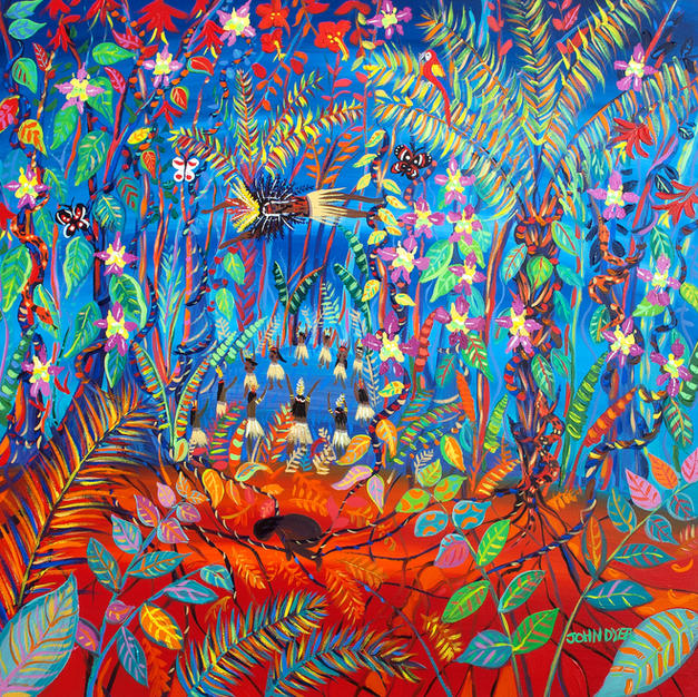 Original Painting by John Dyer. The Creation of Uni (Ayahuasca). Painting inspired by the Yawanawá Tribe. Amazon Rainforest. 100 x 100 cm acrylic on canvas