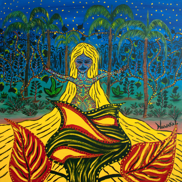 Nixiwaka Yawanawá Painting. Rare - Spiritual rebirth. Amazon Rainforest Spirit. 100 x 100 cm acrylic on canvas