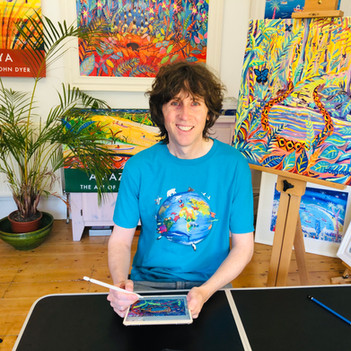 Artist John Dyer presenting a Last Chance to Paint webinar and drawing live on iPad to inspire school children to paint alongside him whilst answering their art and environmental questions.