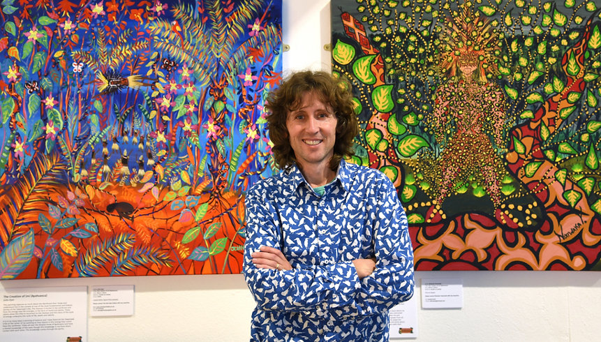 John Dyer pictured at the 'Spirit of the Rainforest' exhibition at the Eden Project A major exhibition of the rainforest work was held at the Eden Project.