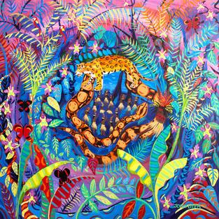 Original Painting by John Dyer. Nawê. Painting inspired by the Yawanawá Tribe. Amazon Rainforest. 100 x 100 cm acrylic on canvas