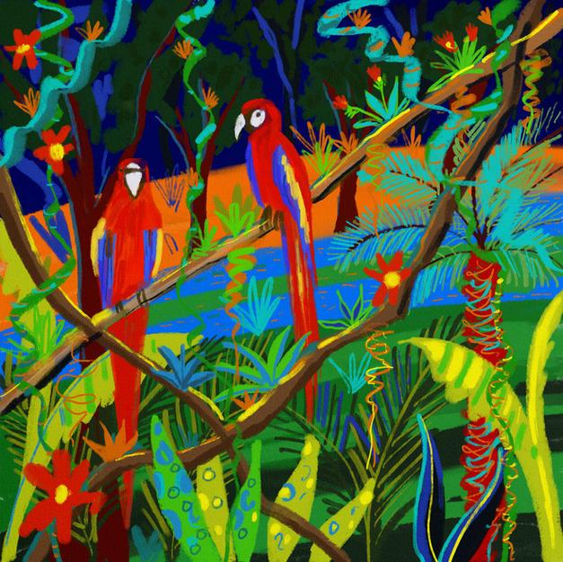 Amazon Scarlet Macaws. Procreate iPad drawing