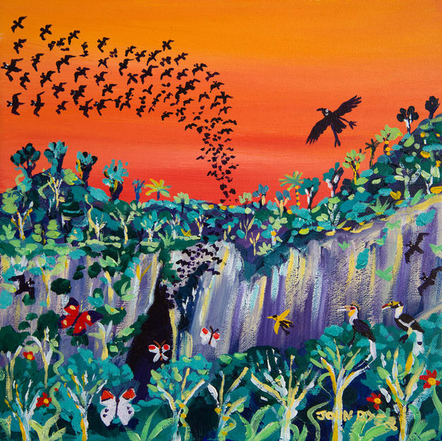 John Dyer Painting. Sunset Bats, Mulu, Borneo. 12 x 12 inches acrylic on canvas