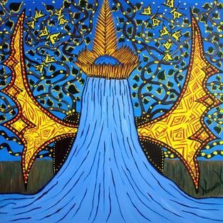 Nixiwaka Yawanawá Painting. Yuxi Yuve - The Water Spirit of the Amazon Rainforest. 100 x 100 cm acrylic on canvas