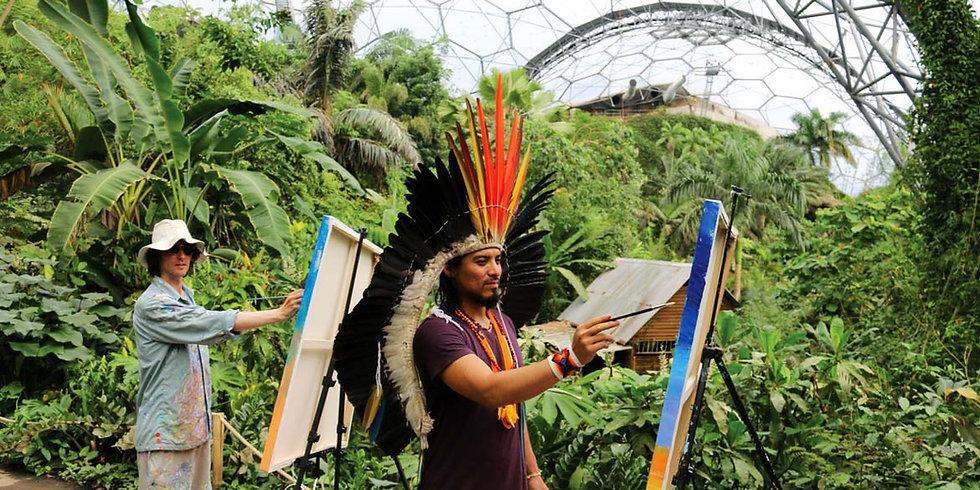 John Dyer & Amazon Indian Nixiwaka Yawanawá Artist John Dyer painting with Amazon Indian Nixiwaka Yawanawá at the Eden Project.