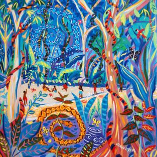 John Dyer Painting. The Sky Snake Ashuinka and Ground Snake Runua, Amazon Rainforest. 24 x 24 inches acrylic on canvas