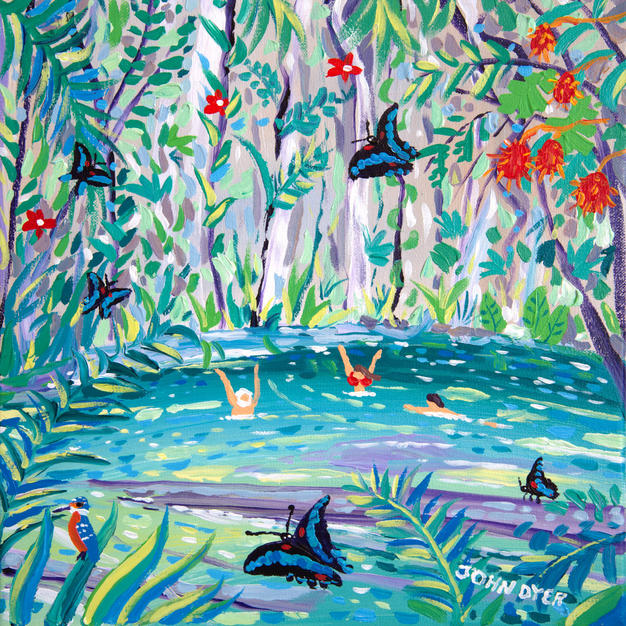 John Dyer Painting. Clearwater Cave Swimmers, Mulu, Borneo. 12 x 12 inches acrylic on canvas