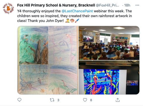 Y4 thoroughly enjoyed the @LastChancePaint  webinar this week. The children were so inspired, they created their own rainforest artwork in class! Thank you John Dyer!