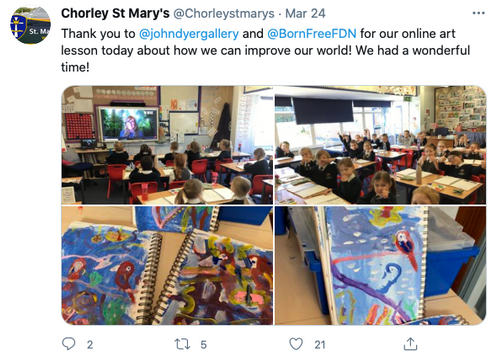 Thank you to  @johndyergallery  and  @BornFreeFDN  for our online art lesson today about how we can improve our world! We had a wonderful time!