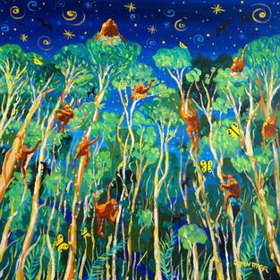 John Dyer Painting. Twilight Orangutans, Borneo. 24 x 24 inches acrylic on canvas
