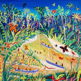 John Dyer Painting. Spiritual Butterflies, Rio Gregório, Amazon Rainforest, Brazil. 24 x 24 inches acrylic on canvas