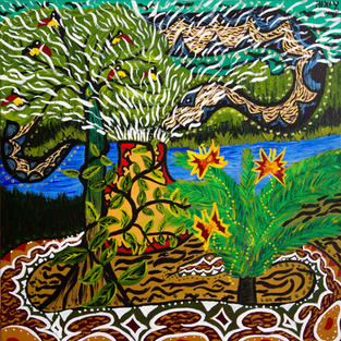 Nixiwaka Yawanawá Painting. The Sky Snake Ashuinka and Ground Snake Runua, Amazon Rainforest. 24 x 24 inches acrylic on canvas