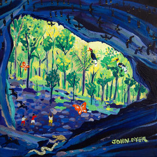 John Dyer Painting. Garden of Eden, Mulu, Borneo. 12 x 12 inches acrylic on canvas
