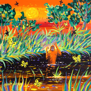 John Dyer Painting. Orangutan Sunset, Borneo. 12 x 12 inches acrylic on canvas