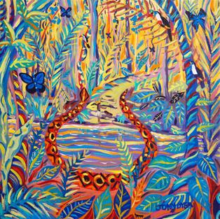 John Dyer Painting. The Healing Shaman, Yawanawá Tribe, Amazon Rainforest. 24 x 24 inches acrylic on canvas