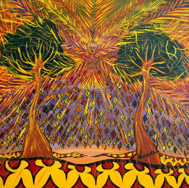 Nixiwaka Yawanawá Painting. Vana - The Spirit of our Shadows. Amazon Rainforest Spirit. 100 x 100 cm acrylic on canvas