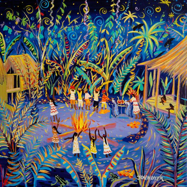 John Dyer Painting. Yawanawá Tribal Ayahuasca Ceremony, Amazon Rainforest. 24 x 24 inches acrylic on canvas