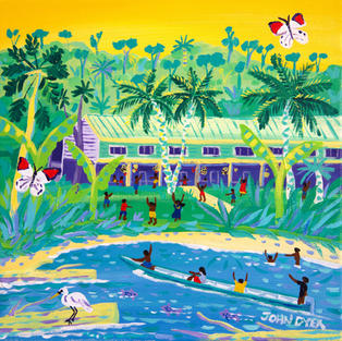 John Dyer Painting. A Penan Tribe Welcome, Long Iman, Mulu, Borneo 12 x 12 inches acrylic on canvas