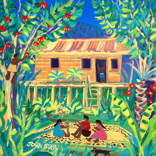 John Dyer Painting. Tribal Penan Music at Batu Bungan, Mulu, Borneo. 12 x 12 inches acrylic on canvas