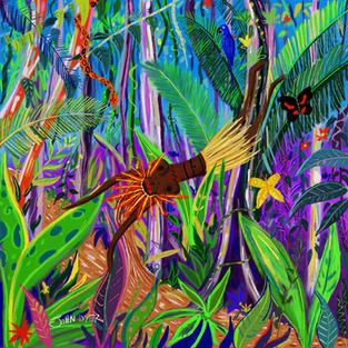 Yuxi Yuve, the Amazon Water Spirit. Procreate iPad drawing