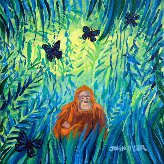 John Dyer Painting. Mother and Child, Borneo Orangutans. 12 x 12 inches acrylic on canvas
