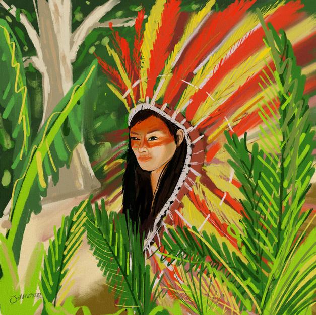 Yawanawá Tribal Woman. Procreate iPad drawing