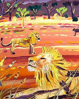 Sunset Lions, Kenya 12 x 12 inches acryl