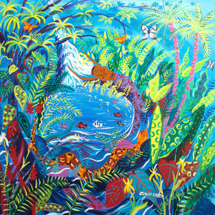 Original Painting by John Dyer. Yuxi Yuve Amazon Rainforest Water Spirit. Painting inspired by the Yawanawá Tribe.