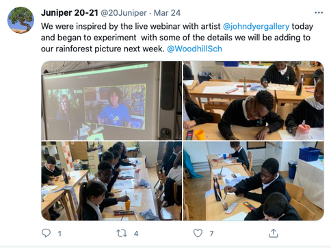 We were inspired by the live webinar with artist  @johndyergallery  today and began to experiment  with some of the details we will be adding to our rainforest picture next week. @WoodhillSch