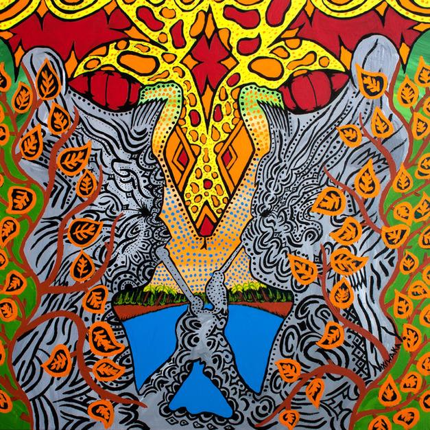 Nixiwaka Yawanawá Painting. Nawê. Amazon Rainforest Spirits. 100 x 100 cm acrylic on canvas
