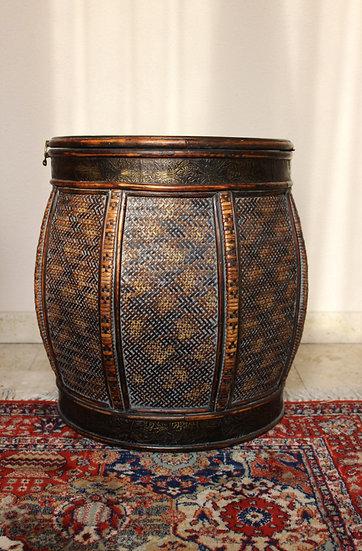 Contenitore/bauletto in midollino intrecciato - interni in legno