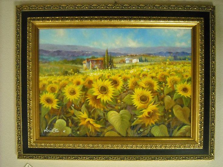 """Dipinto olio su tela """"Campo di girasoli"""""""