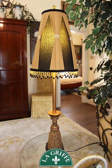 Lampada in resina e metallo finitura oro antico - con paralume plissè