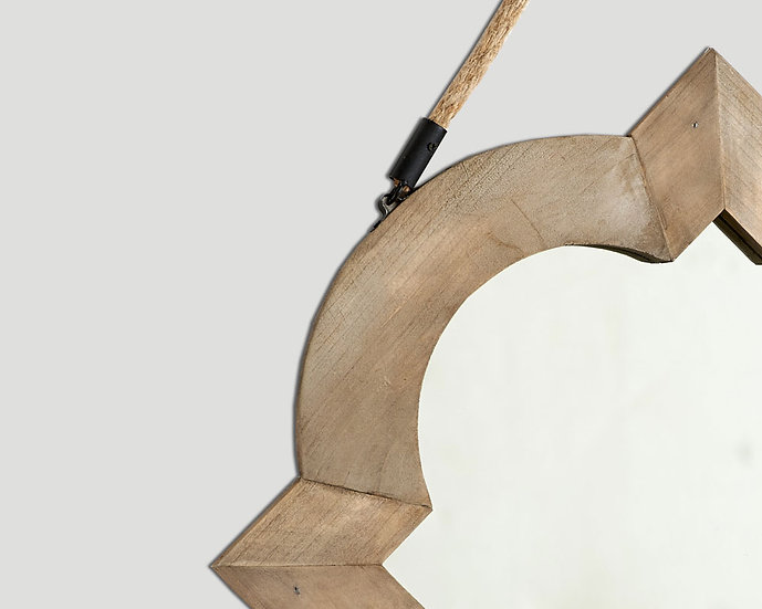 Specchio sagomato in legno, con corda in juta - Dialma Brown