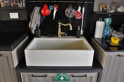 Lavello a vasca unica in marmo bianco - su misura